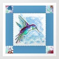 Blue Jewel Box Hummingbird Art Print