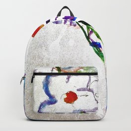 Watercolor White Flowers Abstract Backpack