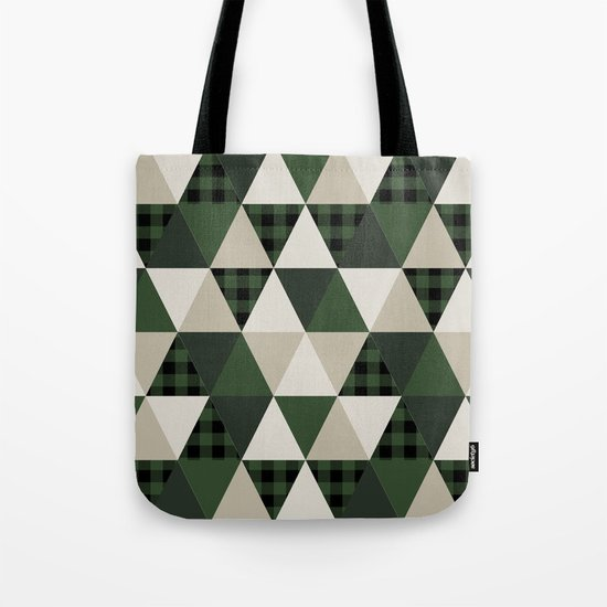 Hunter Green camping cabin glamping cheater quilt baby nursery gender neutral Tote Bag