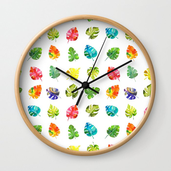 Watercolor rainbow monstera leaves illustration Wall Clock