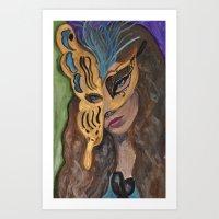 Creole girl Mardi Gras Mask Art Print