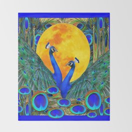 FULL GOLDEN MOON BLUE PEACOCK  FANTASY ART Throw Blanket
