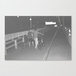 Cyclist On Bridge Canvas Print
