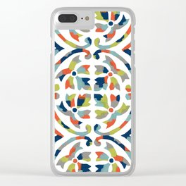 Painterly Tile Pattern Clear iPhone Case
