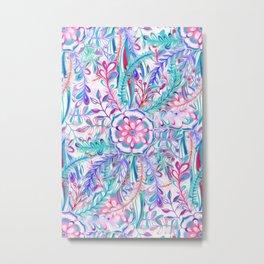 Boho Flower Burst in Pink and Teal Metal Print