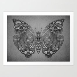 Butterfly skulls 3 Art Print