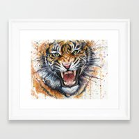 tiger Framed Art Prints featuring Tiger by Olechka