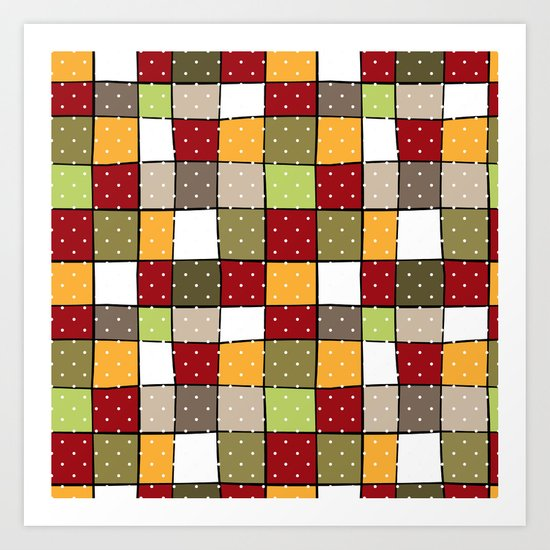 Retro . Squares with polka dots . Art Print
