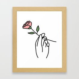 Hand with Rose Framed Art Print