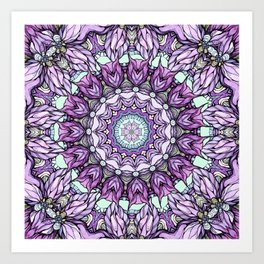 watercolor lily mandala Art Print