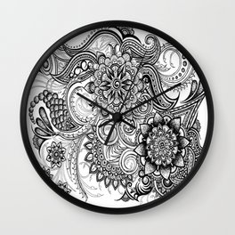 Freeform Black and White Ink Drawing Wall Clock