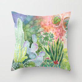 Cactus in the Moonlight Watercolor Throw Pillow
