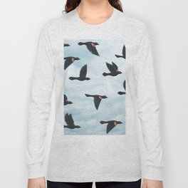 red-winged blackbirds and blue sky Long Sleeve T-shirt