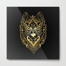 Tribal ethnic wolf Metal Print