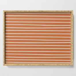 Geometric, Line Art, Colorful Stripes, Orange and White Serving Tray