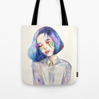 meditation Tote Bags featuring Meditation by Kazel