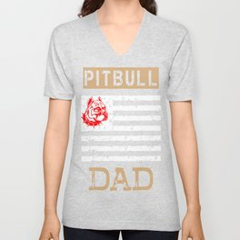 Mens Proud Pitbull Dad red Unisex V-Neck