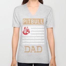 Mens Proud Pitbull Dad red Unisex V-Neck