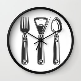 Life set. Lover to eat. Hungry. Glutton. Food Lover. Spoon and a fork. Heavy eater. Eat. Food. Wall Clock