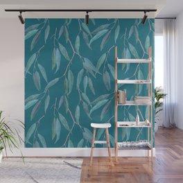 Eucalyptus leaves on teal blue Wall Mural