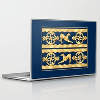 greyhound Laptop & iPad Skins featuring STEAMPUNK GEARS AND GREYHOUND by Jane Walker