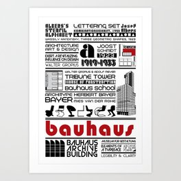 Bauhaus Type and Architecture Art Print