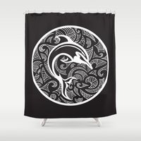 maori Shower Curtains featuring Black Maori Dolphin by freebornline