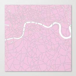 London Pink on White Street Map Canvas Print