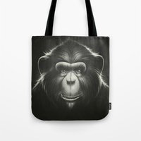 tooth Tote Bags featuring Monkee with Tooth by Dr. Lukas Brezak