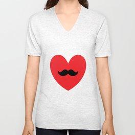 Mustache heart Unisex V-Neck
