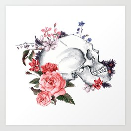 Roses Skull - Death's head Art Print