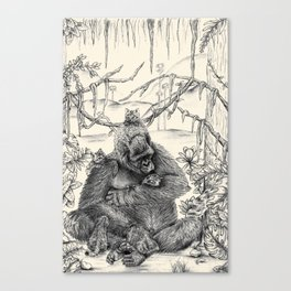 Koko Love Graphite Drawing Canvas Print
