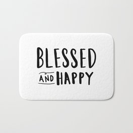 Blessed and Happy - hand lettering typography Bath Mat