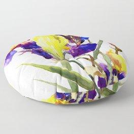 Garden Irises Floral Artwork Yellow Purple Blue Floral design Floor Pillow