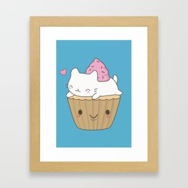 Kawaii Cute Cat Cupcake Framed Art Print