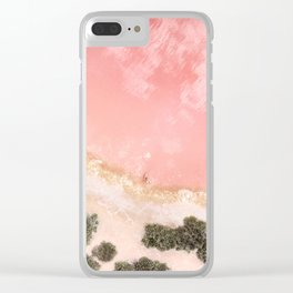 iOS 11 Rose Gold iPad background Clear iPhone Case