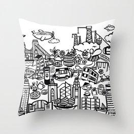 Hong Kong Creative Doodle Throw Pillow