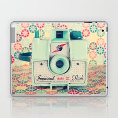 Film Mint Camera on a Colourful Retro Background  Laptop & iPad Skin