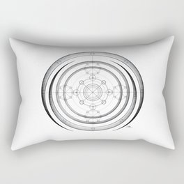 Black and white aztec sacred geometry art Rectangular Pillow