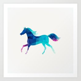 blue horse made of triangles Art Print