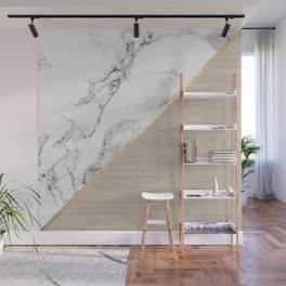 Modern white marble gold stripe wood color block Wall Mural