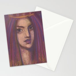 Purple Veil, Eastern Girl, Imaginative Portrait, Pastel Painting Stationery Cards
