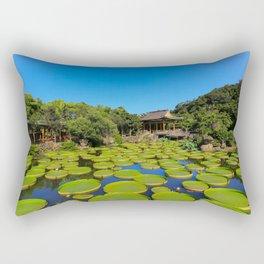 Asian Garden Pond Landscape Rectangular Pillow