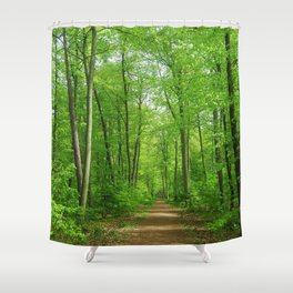 In the forest the fullness of spring, green, Shower Curtain