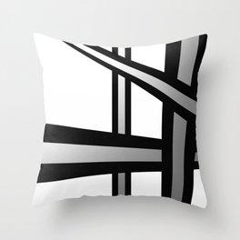 Bold Metallic Beams - Minimalistic, abstract black and white artwork Throw Pillow