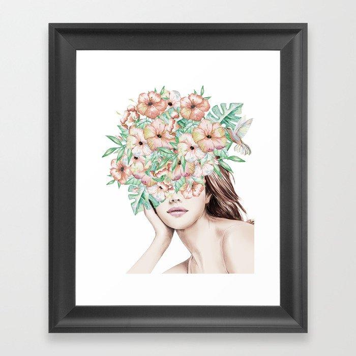She Wore Flowers in Her Hair Island Dreams Framed Art Print