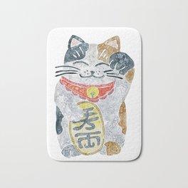 Watercolor Maneki Neko / Lucky Cat Bath Mat