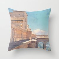 castle in the sky Throw Pillows featuring Castle In The Sky by ZBOY