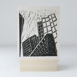 Boston Skyscrapers - Lino Cut Mini Art Print