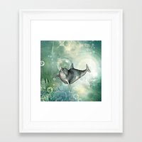 dolphin Framed Art Prints featuring Dolphin by nicky2342